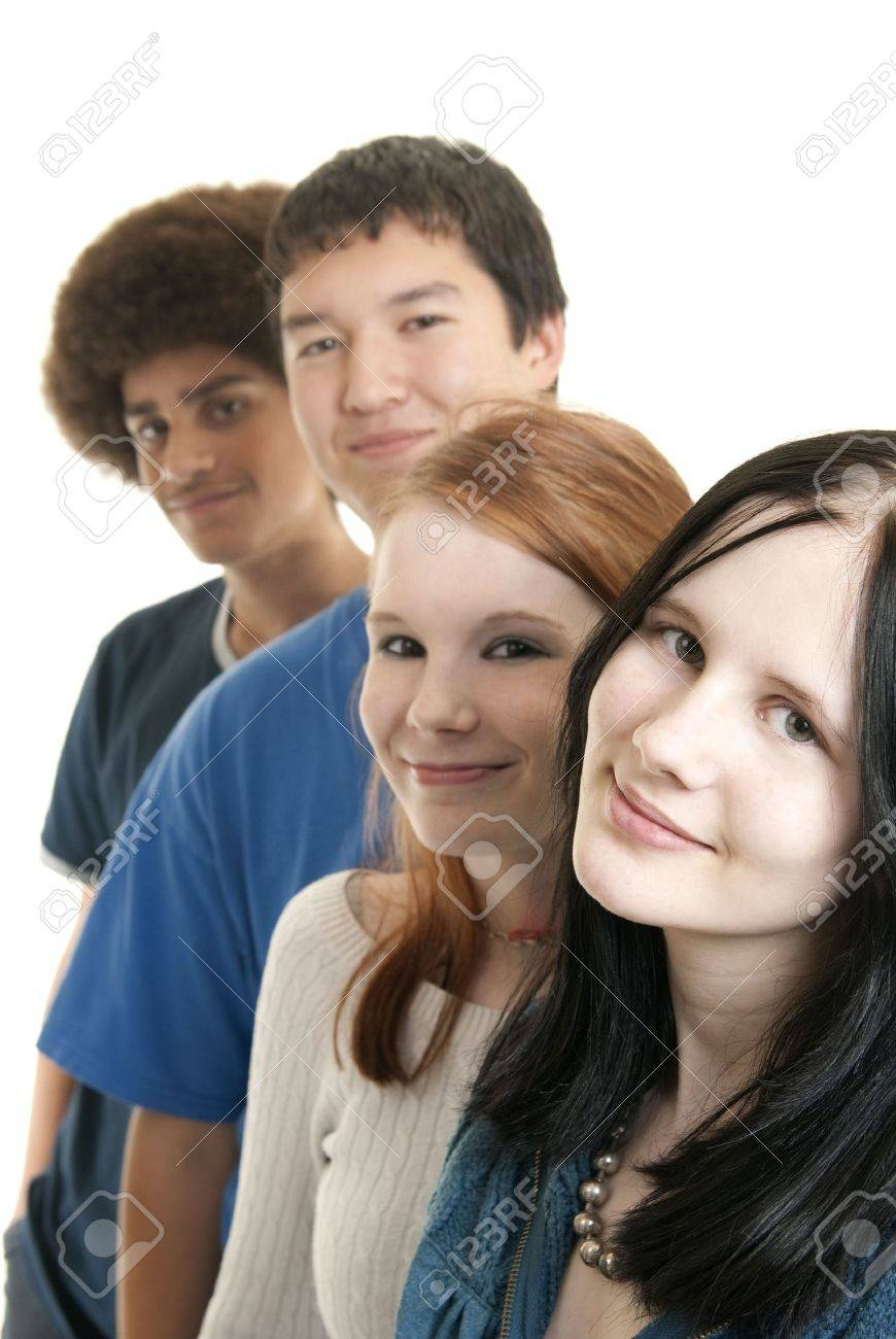 Four teens of different ethnic backgrounds smiling Stock Photo - 5819399