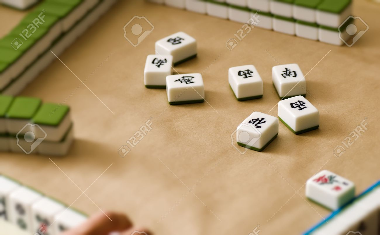 Gambling in Chinese Mahjong  traditional game with friends. Stock Photo - 6480620