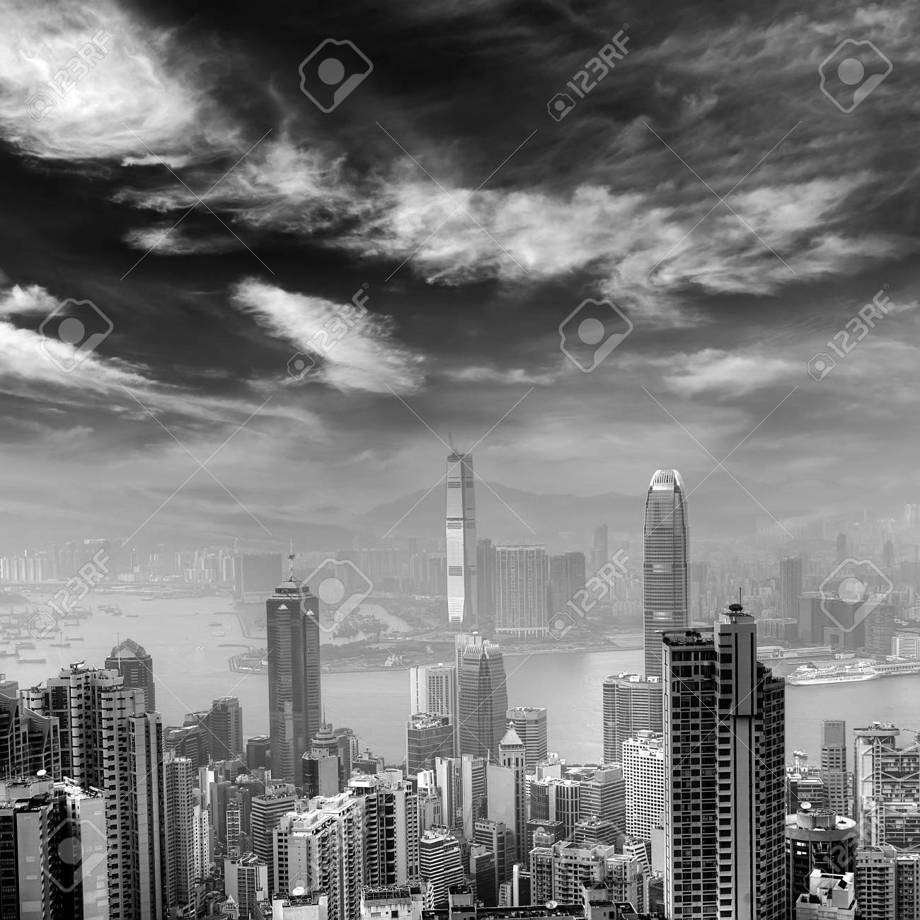 City skyline in Hongkong with black and white tone. Stock Photo - 7067906