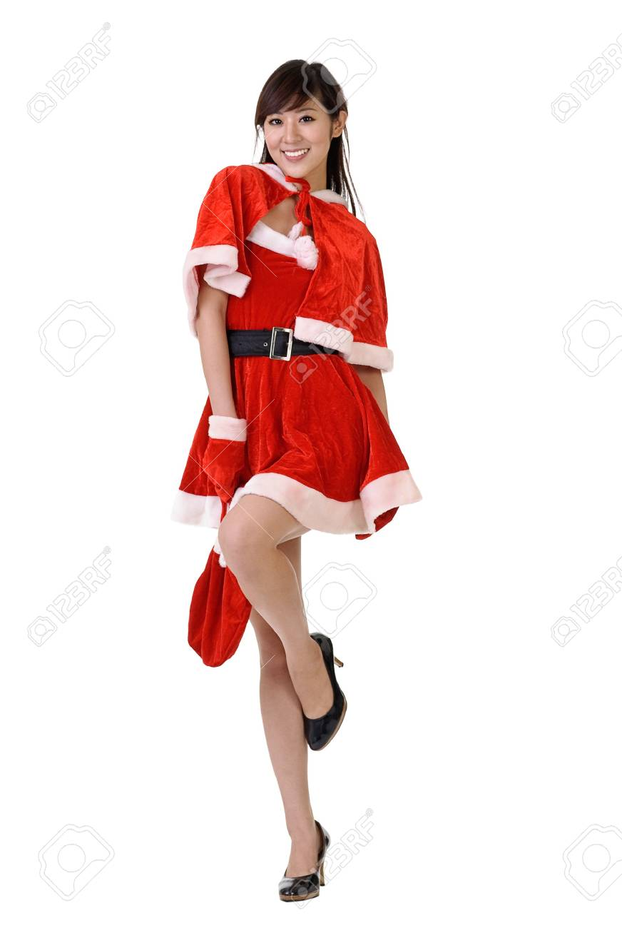 Sexy and fashion Christmas beauty of Asian posing, full length portrait isolated on white. Stock Photo - 7943398