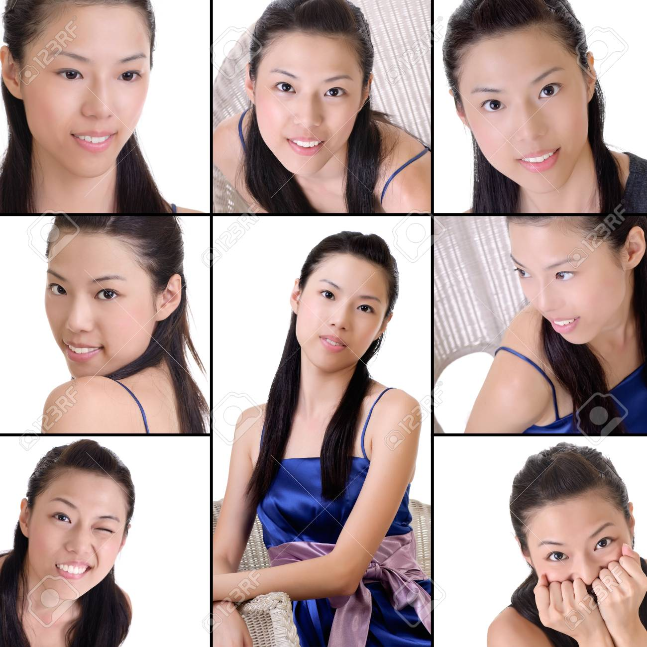Elegant Asian Elegant Asian Lady Collection Of Beauty On White Background