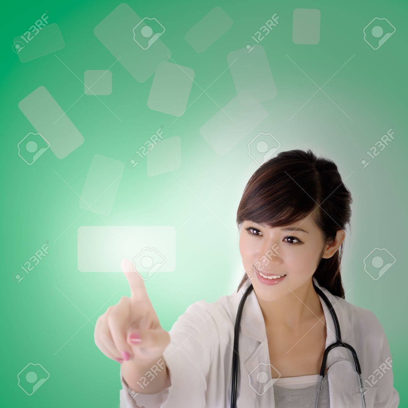 Medical doctor woman use innovative technologies on air. Stock Photo - 8355343