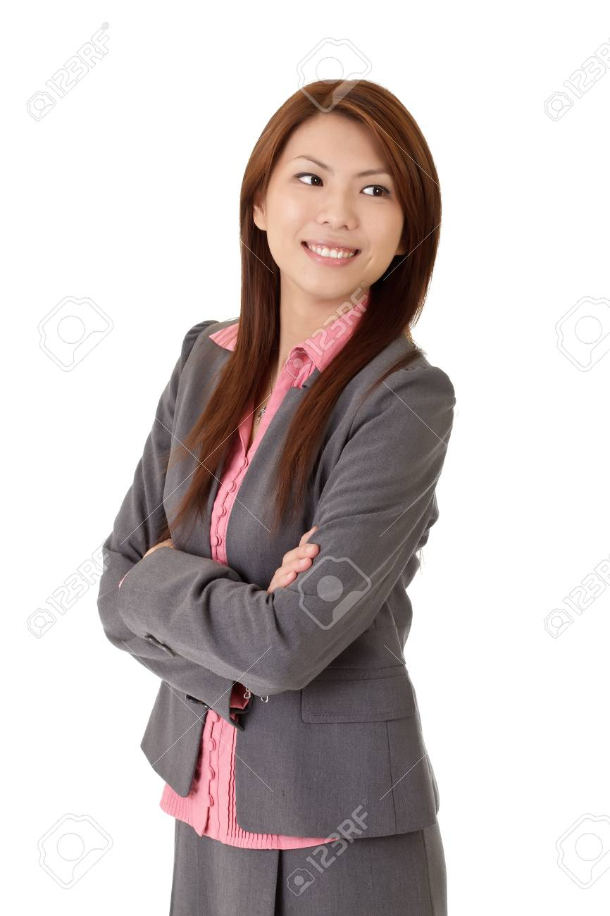 Successful young executive with smiling and happy expression over white. Stock Photo - 8437338