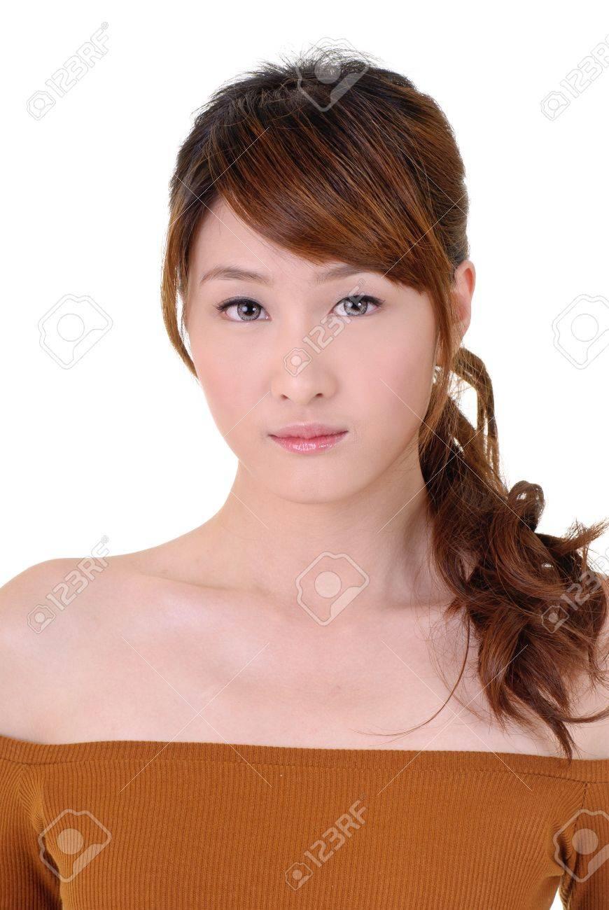 Asian beauty with sadness, closeup portrait on white background. Stock Photo - 8965860