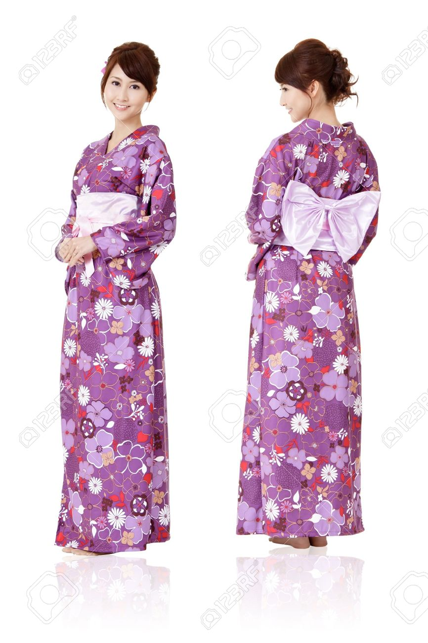 Japanese woman in traditional clothes of Kimono with front and back view, full length portrait isolated on white background. Stock Photo - 9113859