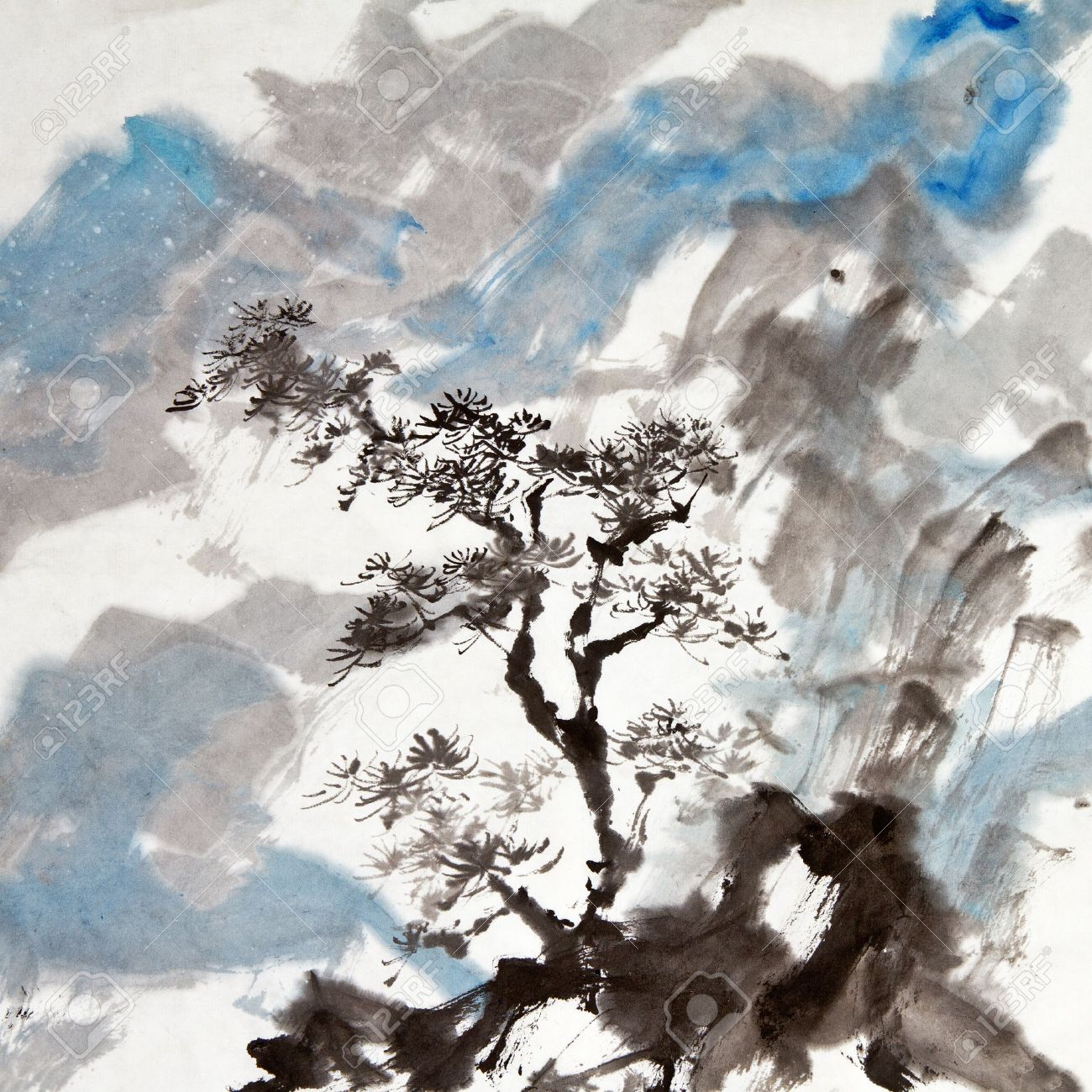 Chinese painting of traditional ink artwork of landscape with mountains and pine tree. Stock Photo - 9113924