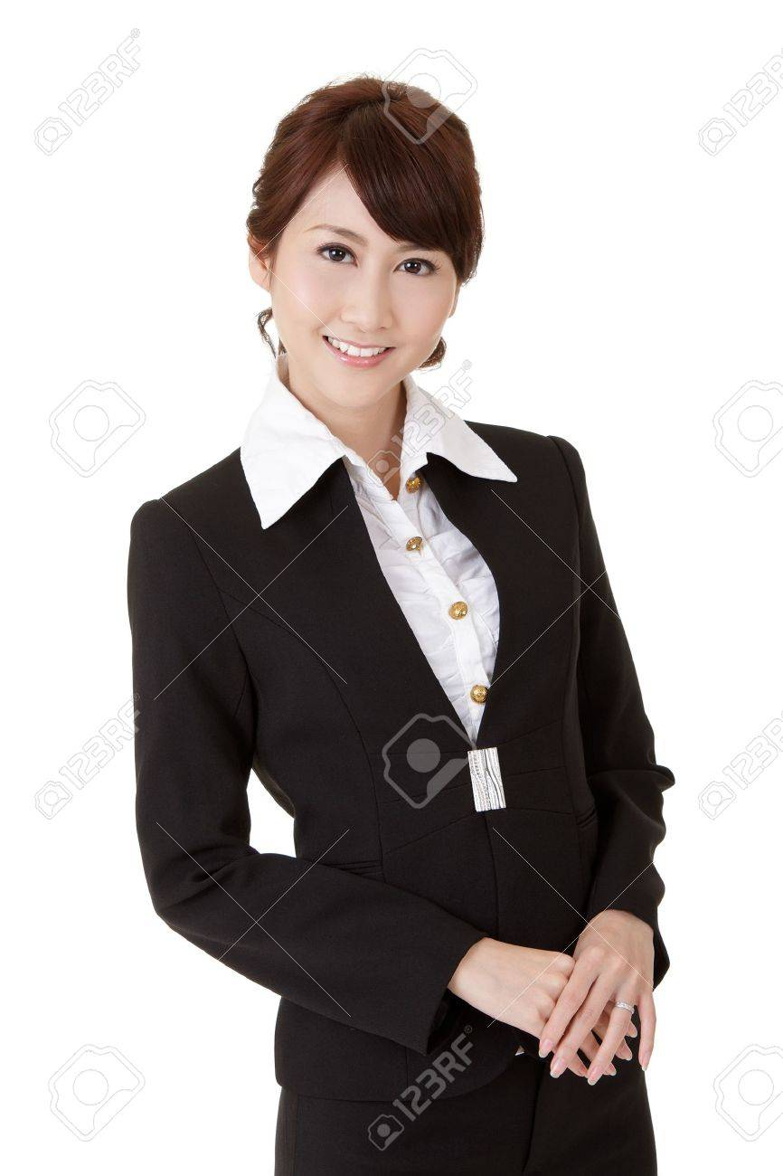 Smart business woman of Asian smiling, half length closeup portrait on white background. Stock Photo - 9113943