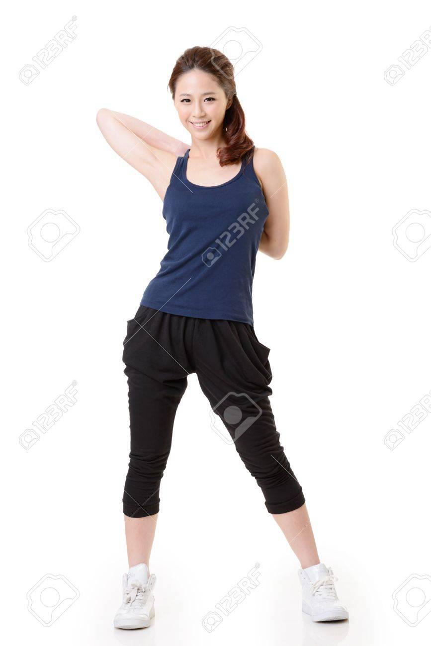 Sport girl of Asian doing stretch exercise, full length portrait isolated on white background. Stock Photo - 17495877