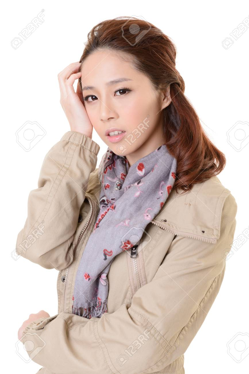 Attractive young modern lady of Asian, closeup portrait on white background. Stock Photo - 17495871