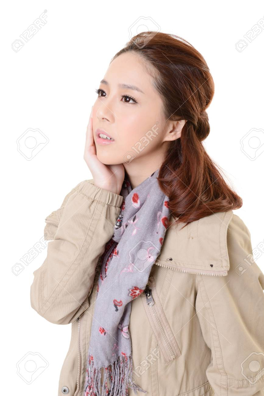 Attractive young modern lady of Asian, closeup portrait on white background. Stock Photo - 17495886