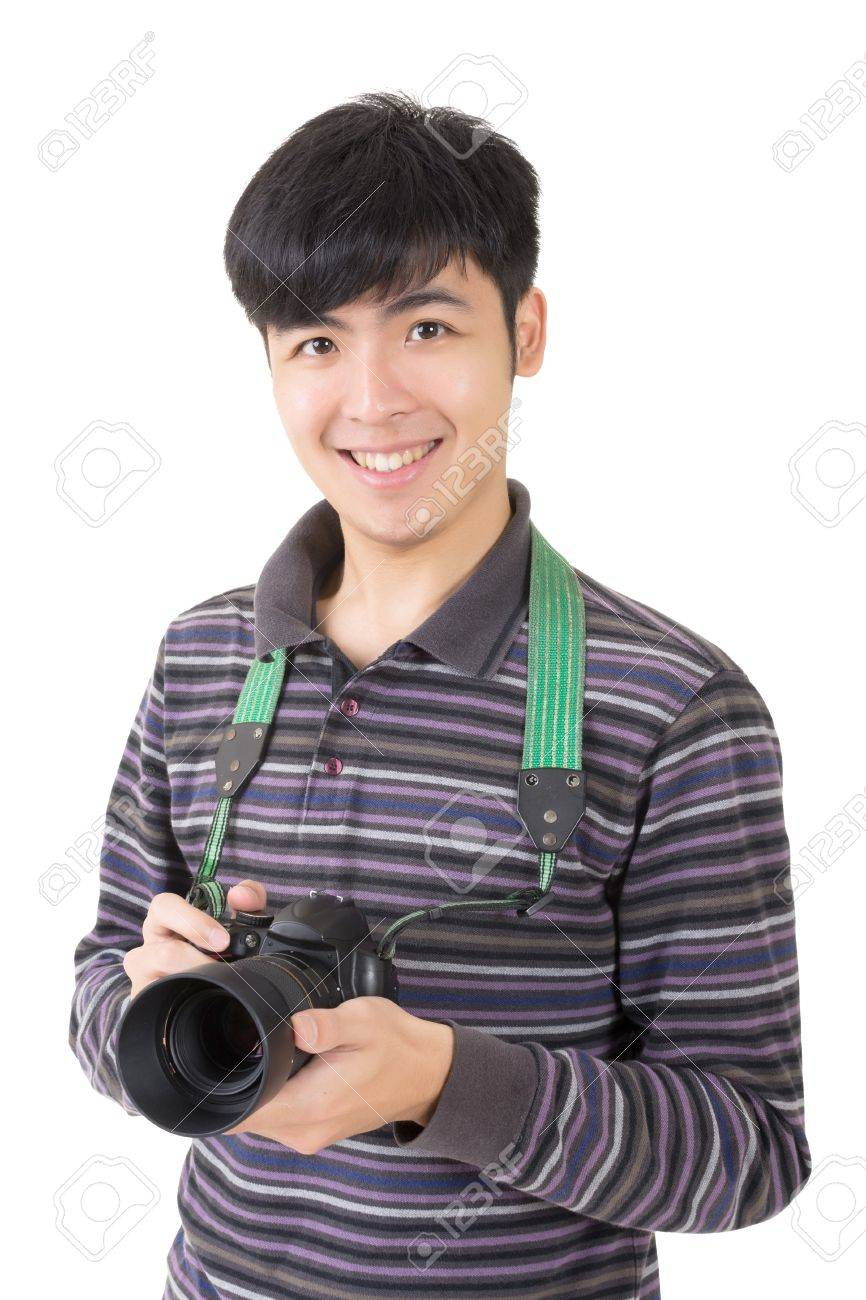 Stock Photo - Young amateur photographer of Asian hold a camera, closeup  portrait on white background.