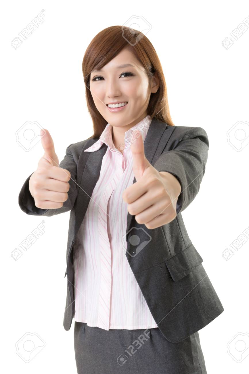 Asian business woman give you excellent gesture, close up portrait on white background Stock Photo - 19405295