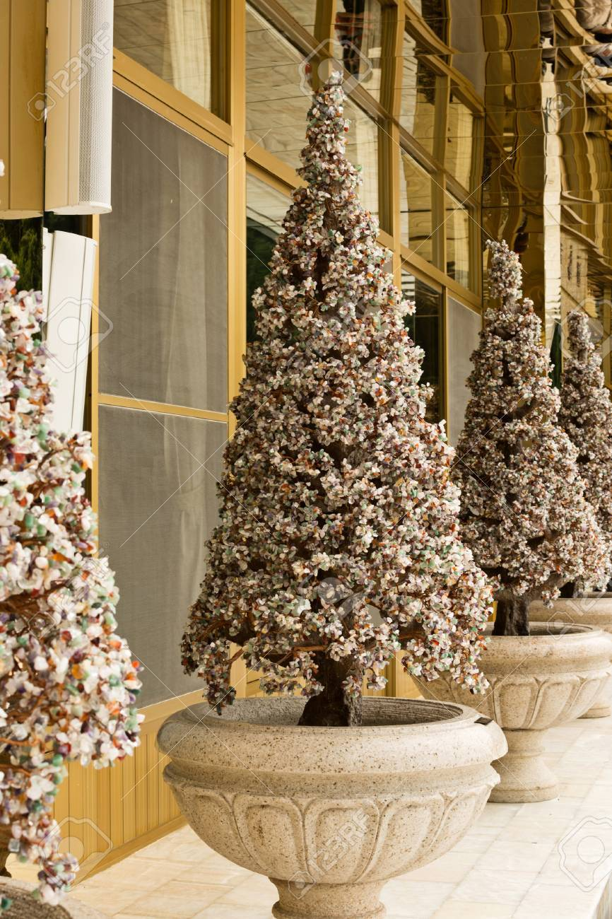 Christmas Trees Made From Jewelry Stones Stock Photo Picture And