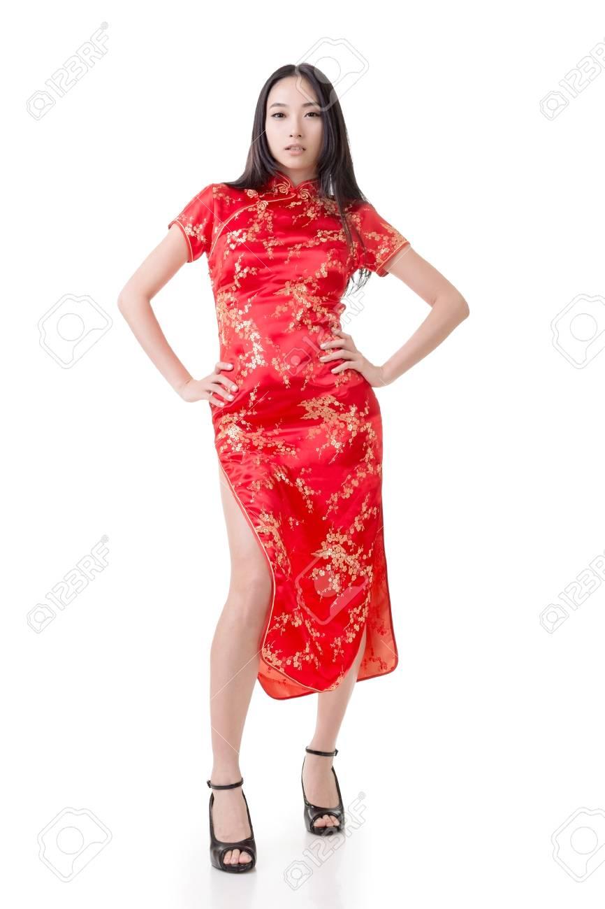 Sexy Femme Chinoise Robe Cheongsam Traditionnelle Au Nouvel An Tourne En Studio Isole Sur Fond Blanc Banque D Images Et Photos Libres De Droits Image 25015892