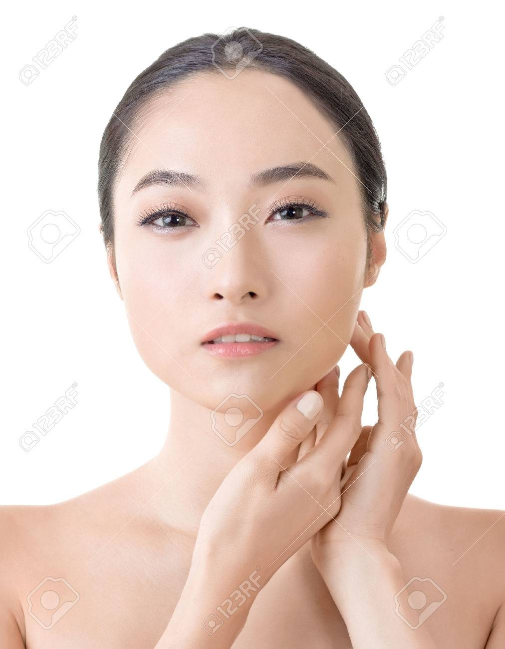 Asian beauty face closeup portrait with clean and fresh elegant lady. Stock  Photo - 30977496