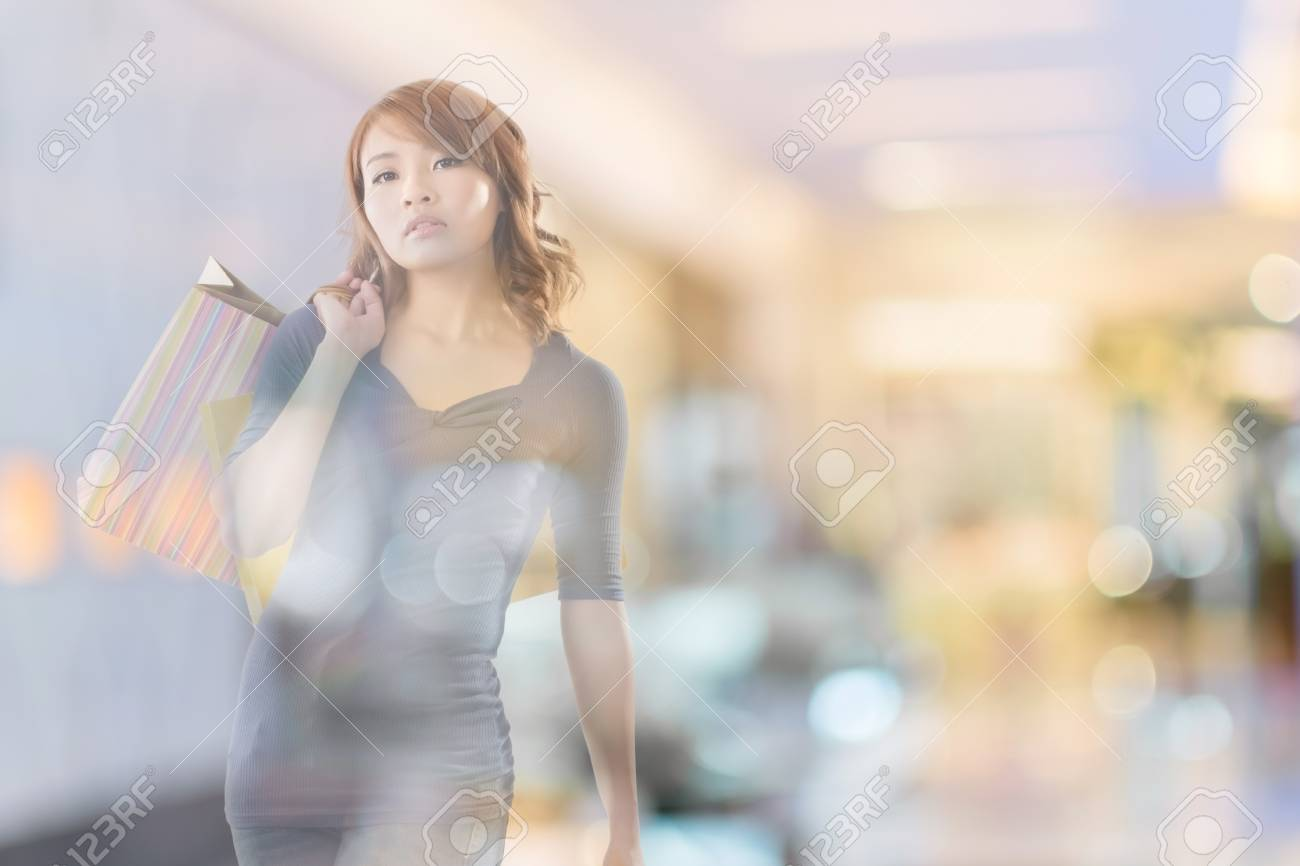 double exposure of shopping woman in the mall