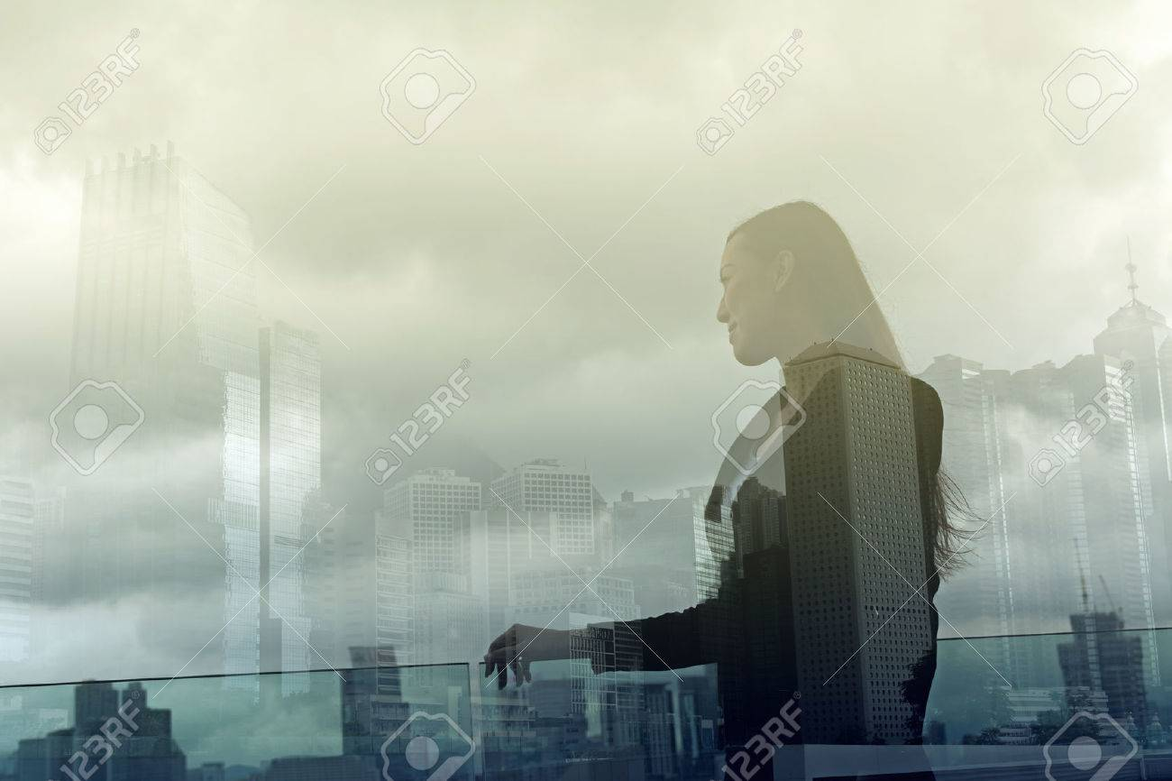 Silhouette of businesswoman stand and look far away in Hong Kong, Asia. Double exposure. - 49684014