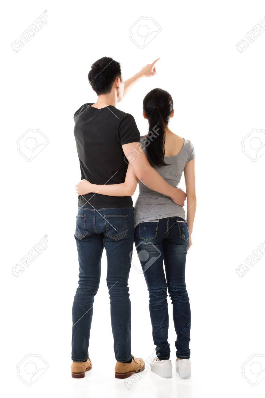 rear view of Asian young couple, full length isolated - 50872939