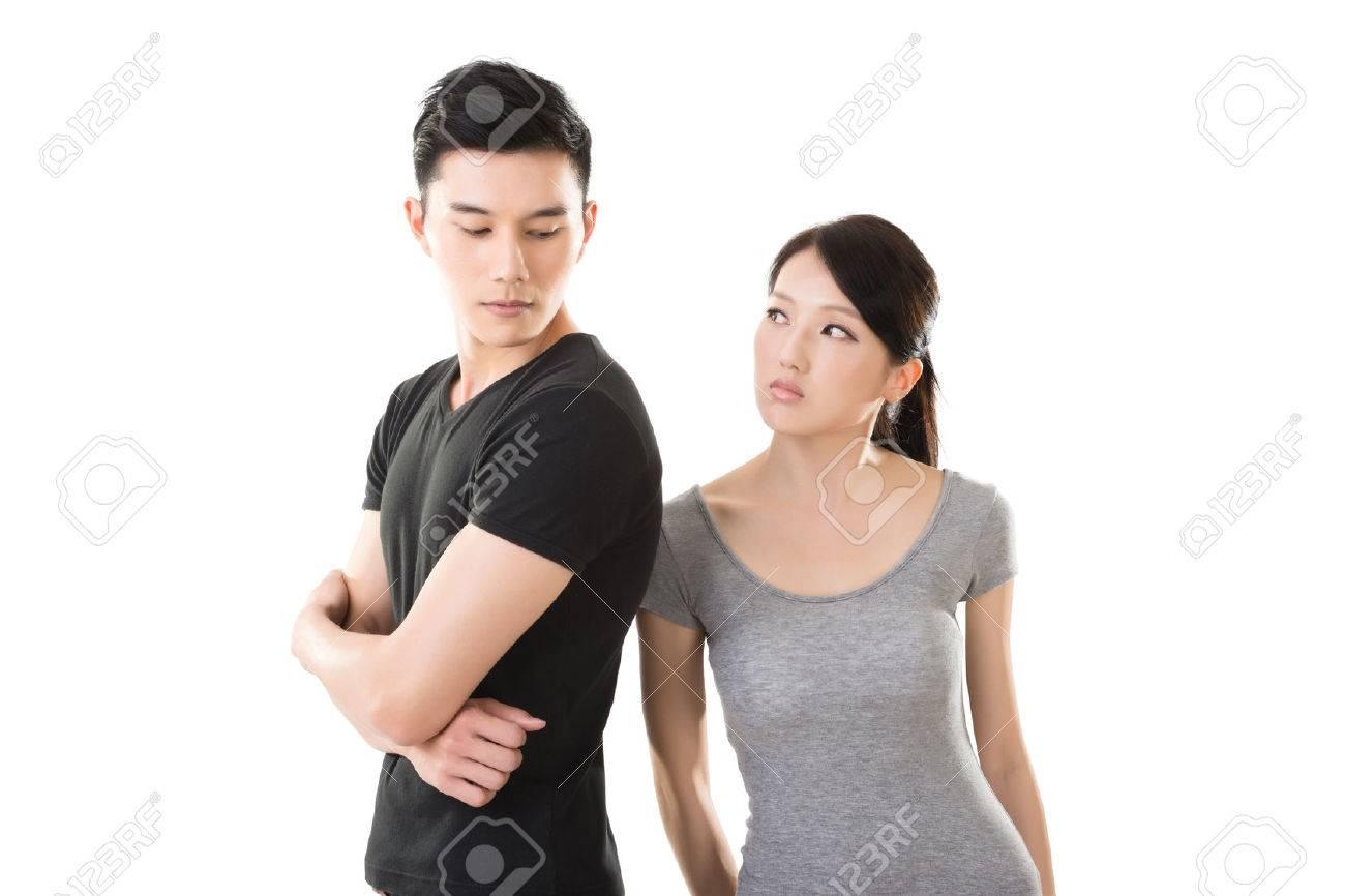 Asian couple argue, closeup portrait with two people. - 50873254