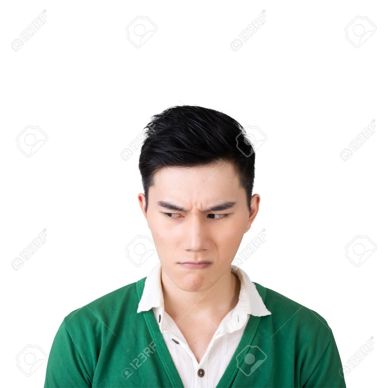 Funny facial expression, closeup Asian young man. - 52821026