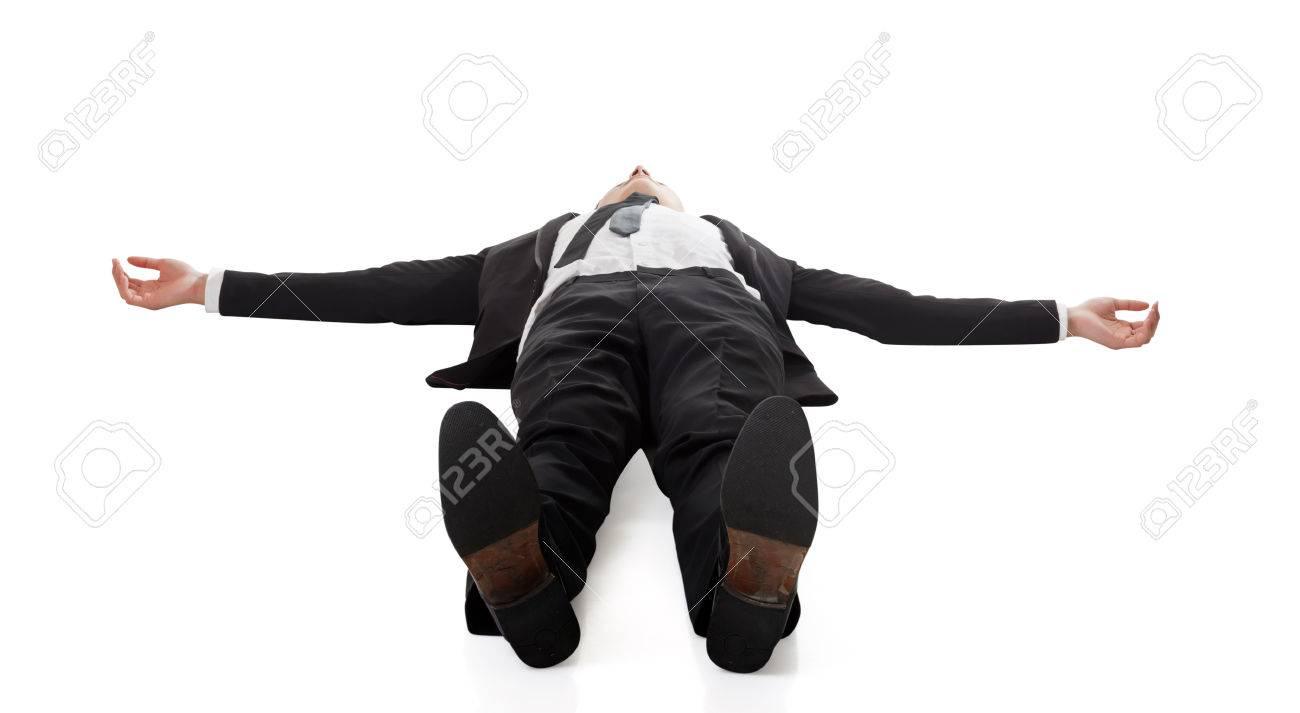 Asian businessman lying on ground, full length portrait isolated - 51072583
