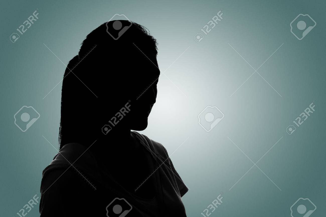 Silhouette woman portrait, concept of unknown, anonymous, unnamed etc. - 52914576