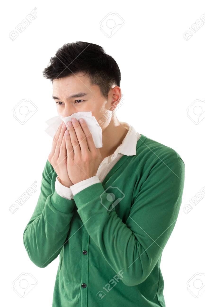 Sneezing asian man, closeup portrait. - 54669698