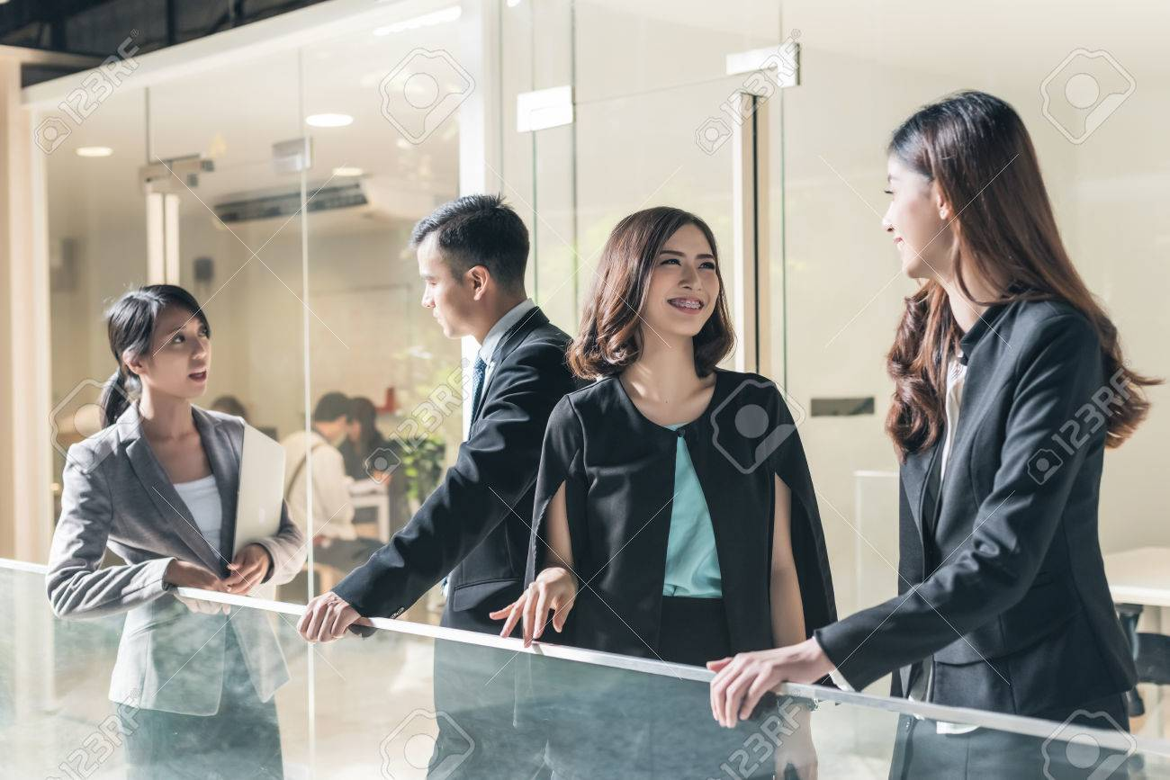 asian business people talk and chat - 73137608
