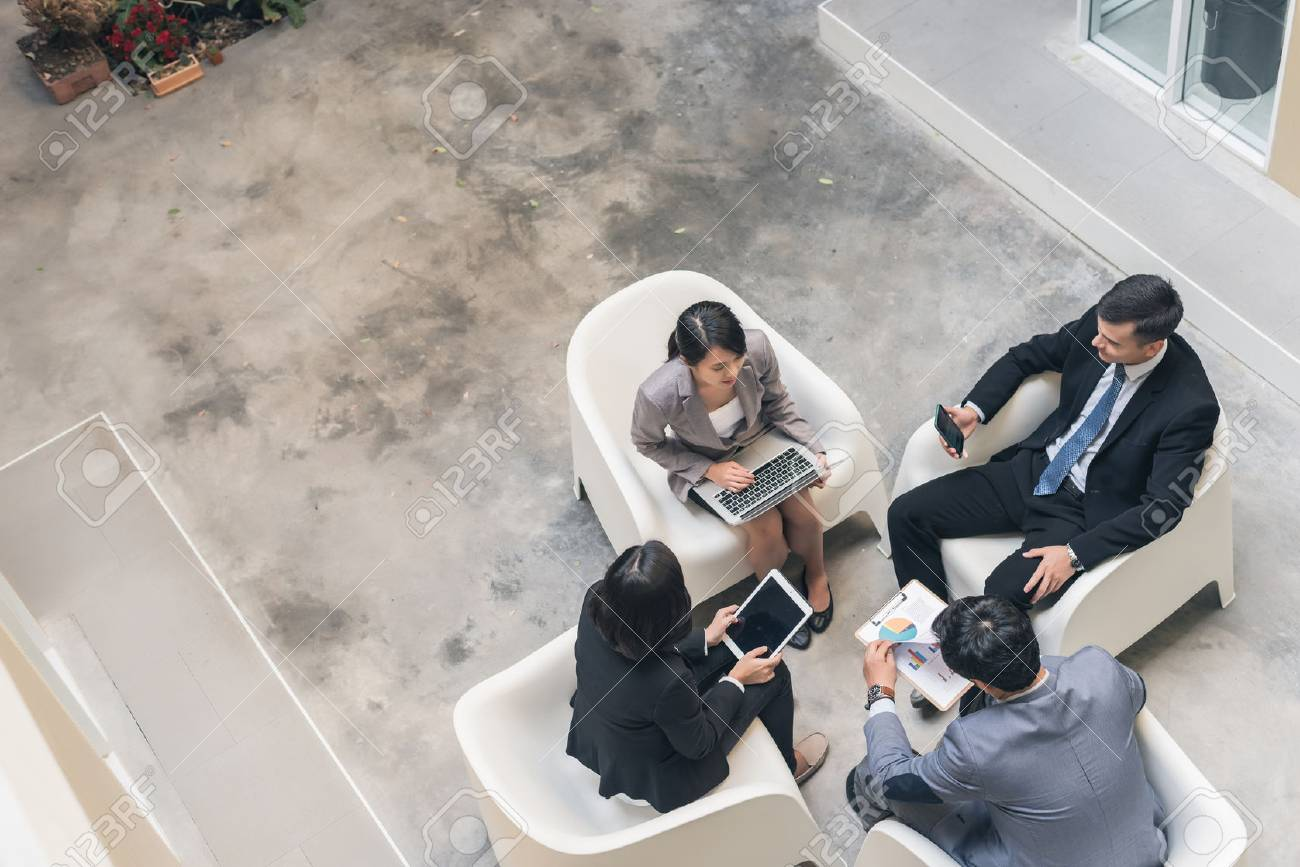 young asian business team discuss at the outdoor - 73751674