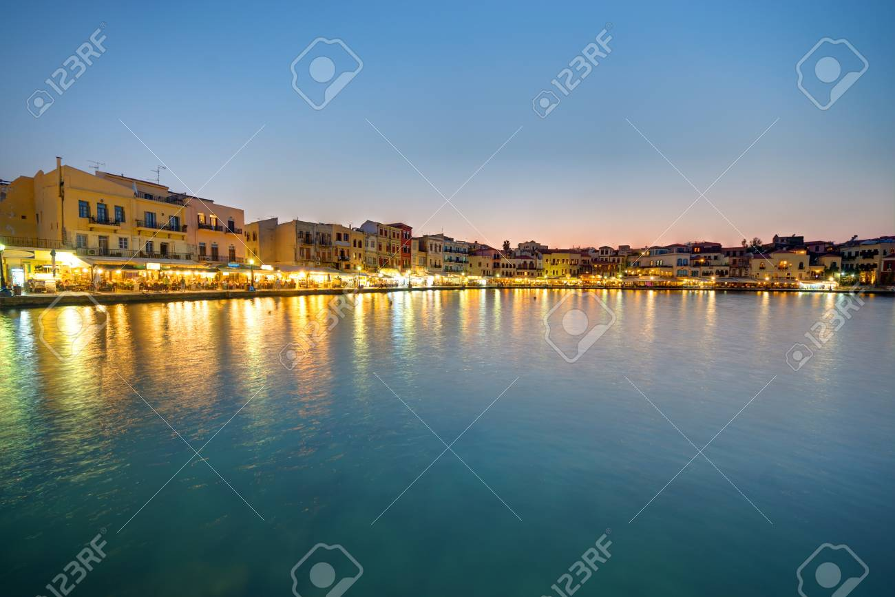 Chania on Crete island in Greece after sunset Stock Photo - 16380589