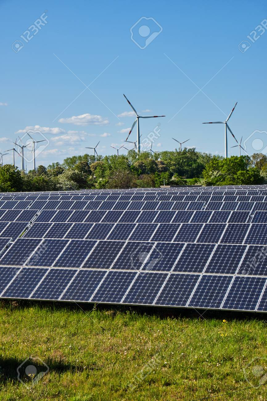 Solar system and wind power plants lakes in Germany - 125512226