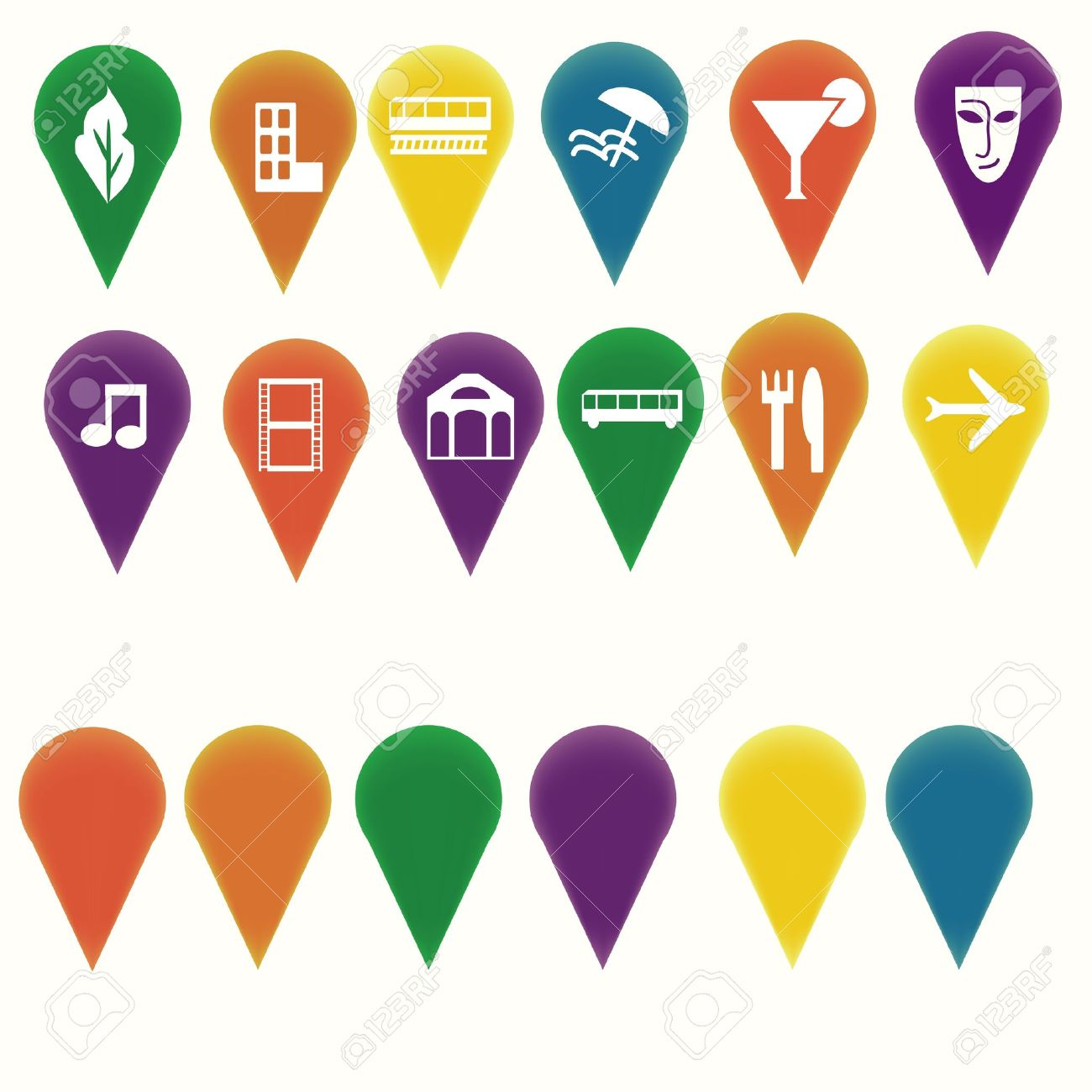 Map Markers With Travel Entertainment Symbols Royalty Free – Travel Map Marker