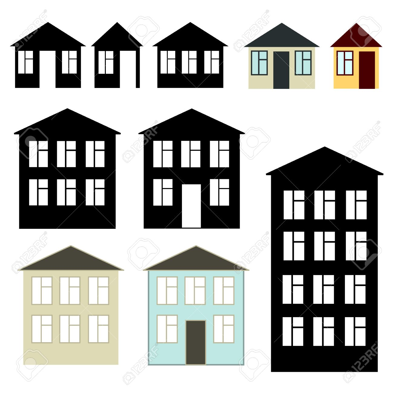 Apartment Building Illustration simple buildings set royalty free cliparts, vectors, and stock