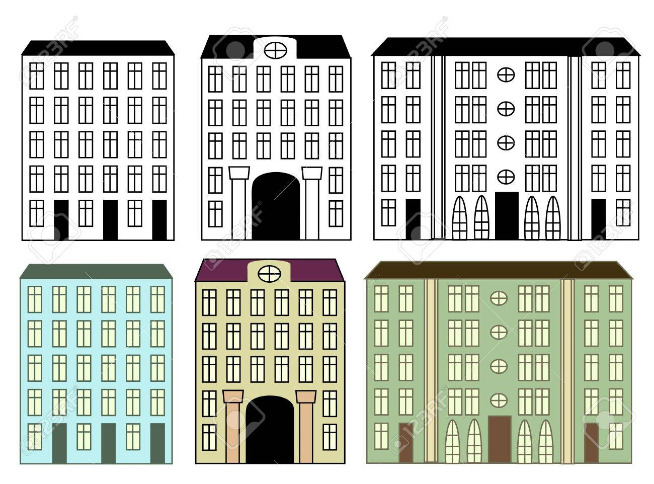 City buildings set colored and silhouettes Stock Vector - 14383397