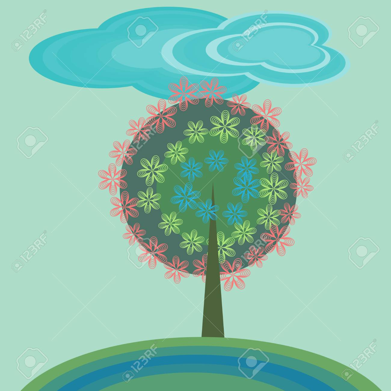 Decorative flowering tree and clouds Stock Vector - 14471296