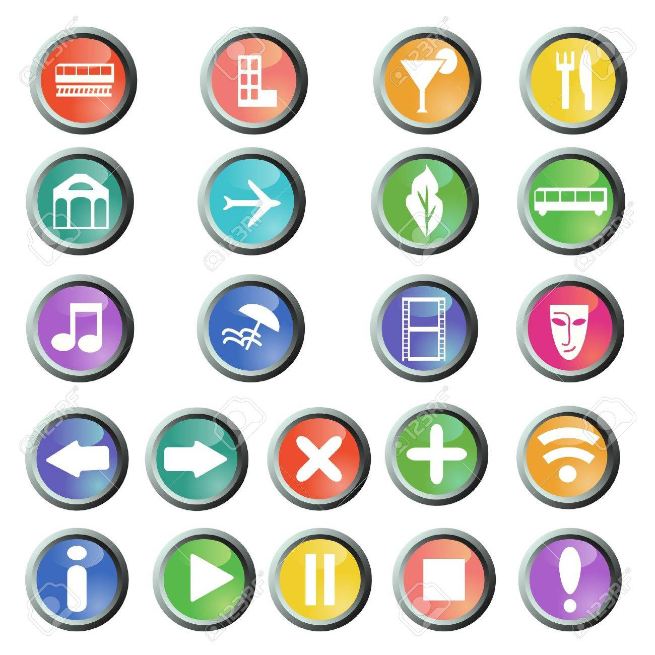 Travel and navigation round buttons set Stock Vector - 14519323