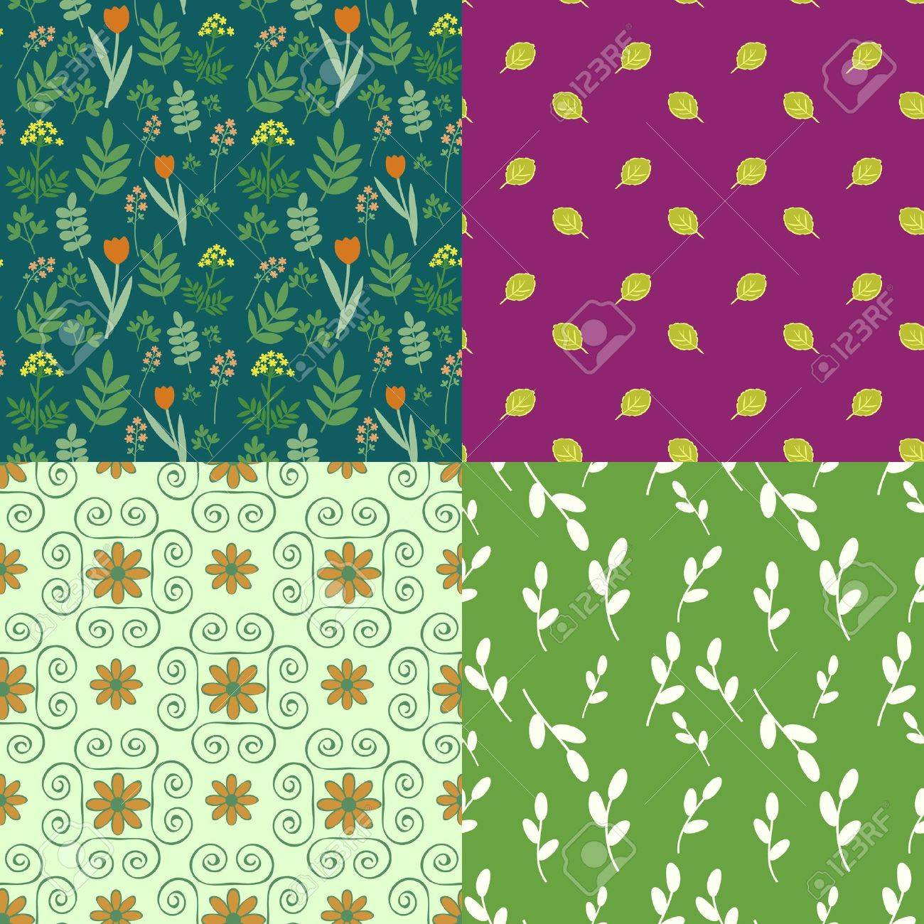 Collection of seamless floral patterns Stock Vector - 14958940