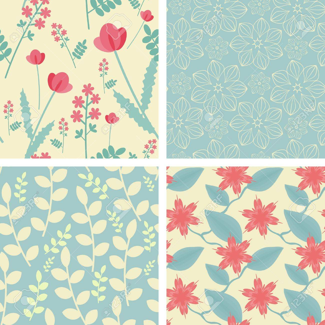 Four floral seamless patterns in light teal and red colors Stock Vector - 14993471