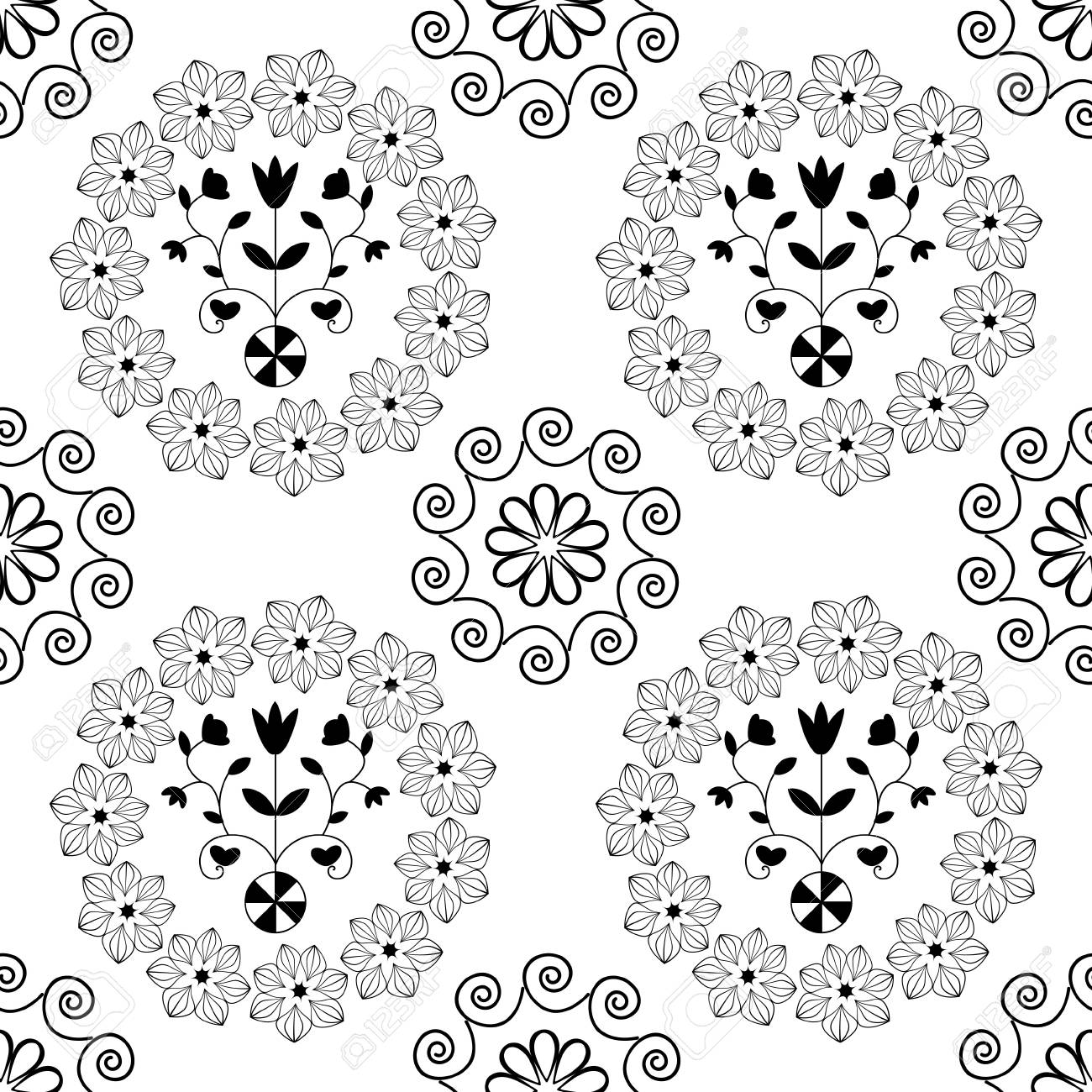 Black and white seamless damask floral pattern Stock Photo - 15914447