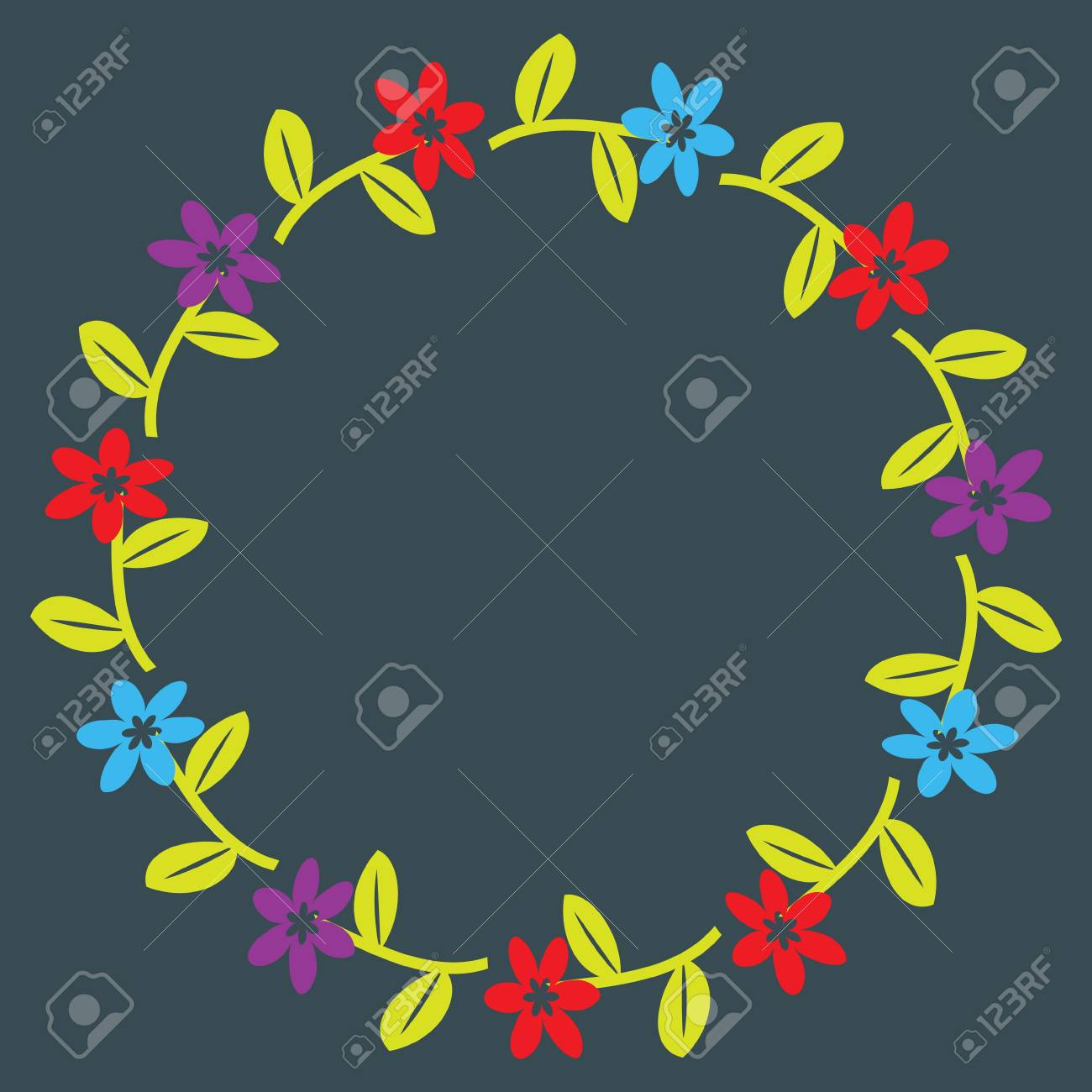 Floral wreath with decorative flowers Stock Vector - 16122580