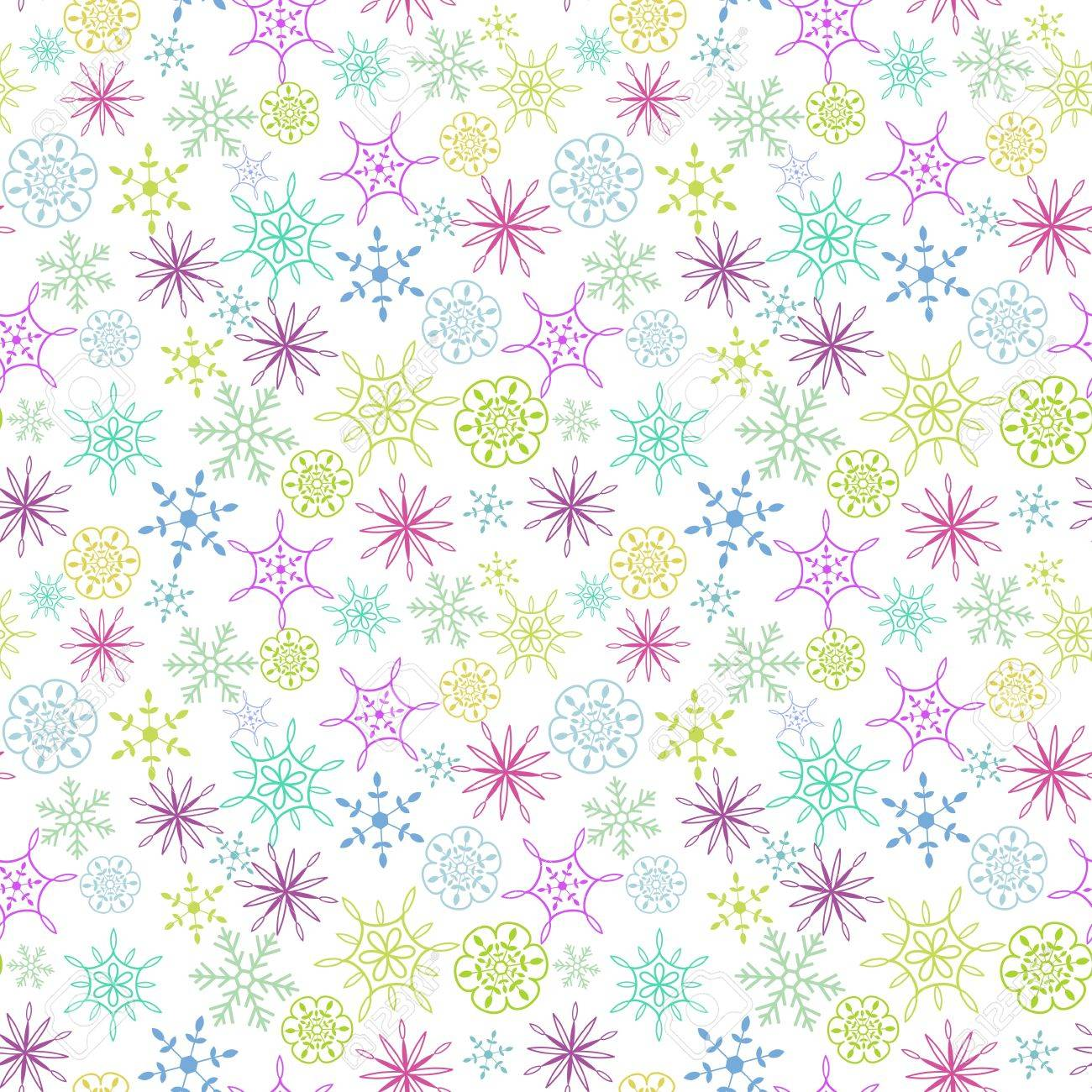 Seamless multicolored snow flakes pattern Stock Vector - 17286874