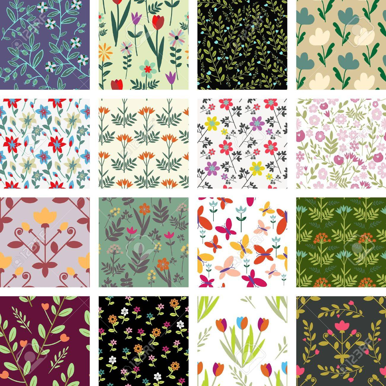 Seamless floral pattern collection Stock Vector - 20327011