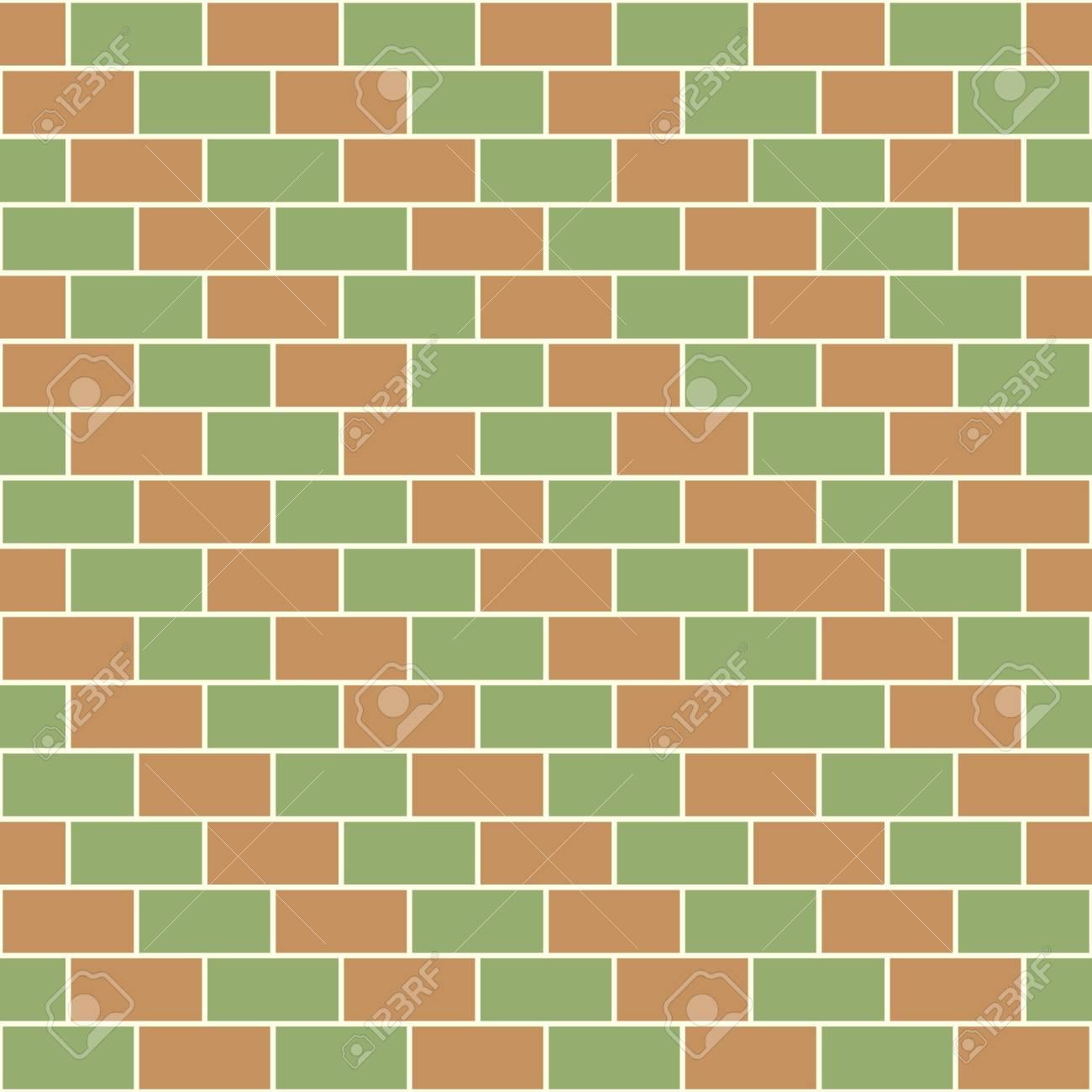 Bricks diagonal pattern red and green Stock Vector - 21026506