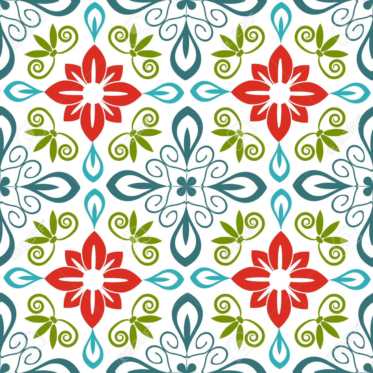 Seamless floral pattern with flourishes Stock Vector - 21131682