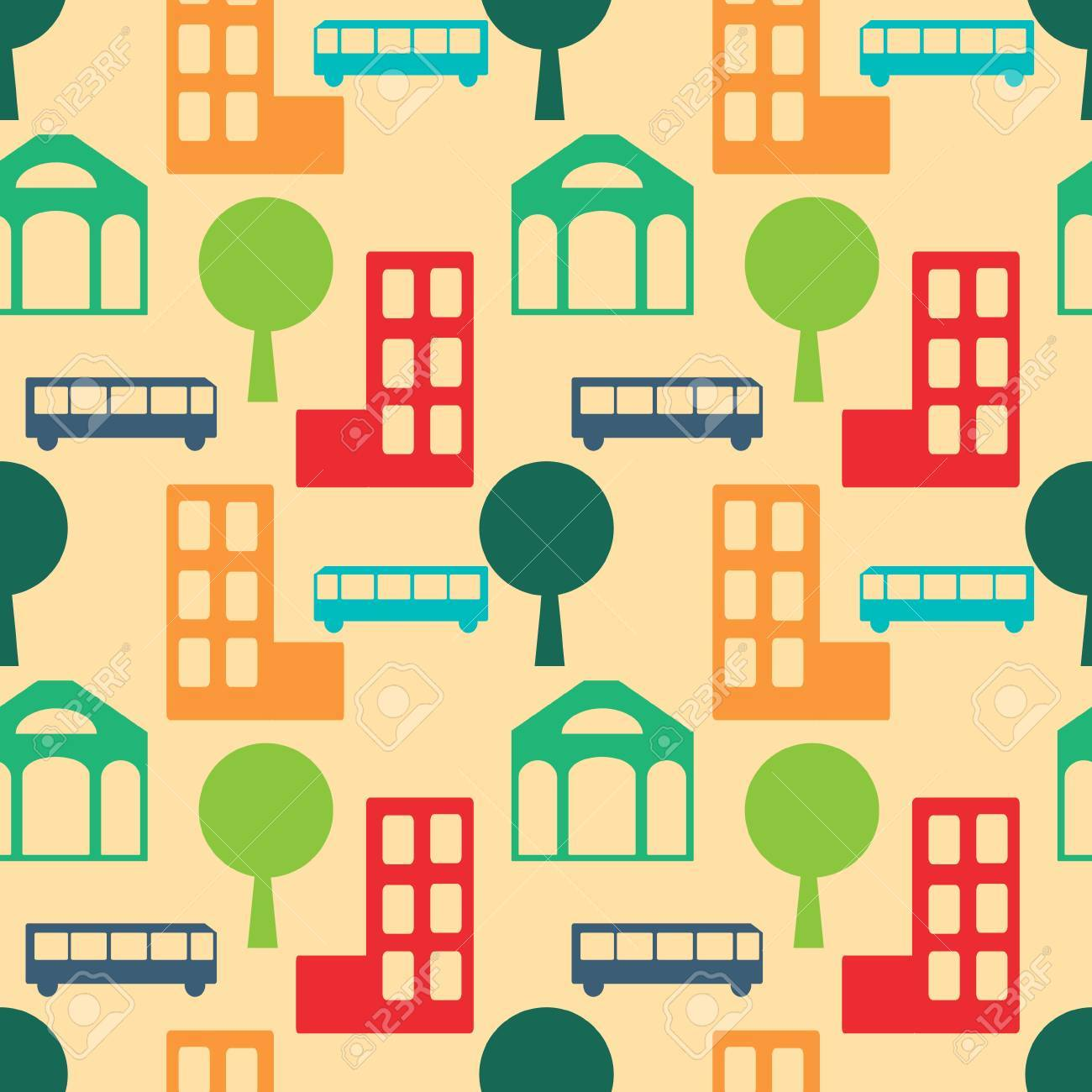 Seamless city abstract simple pattern Stock Vector - 21505700