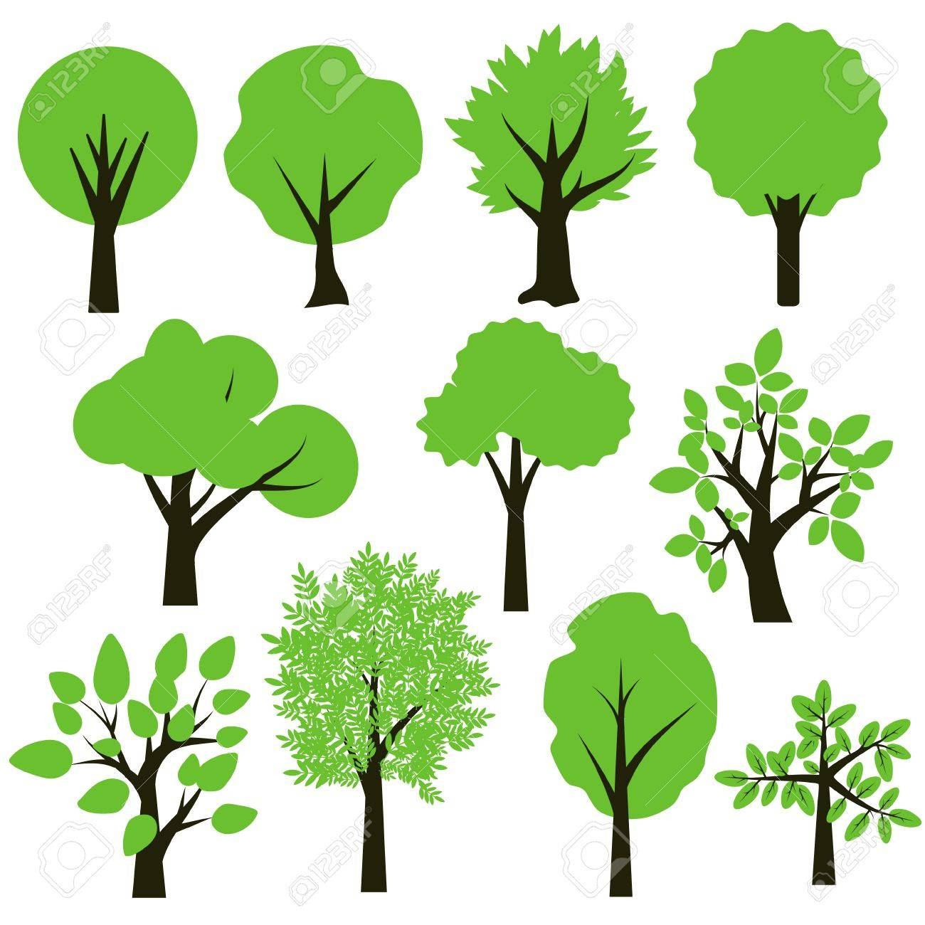 trees simple green and black set royalty free cliparts vectors and rh 123rf com vector trees illustrator vector trees top view