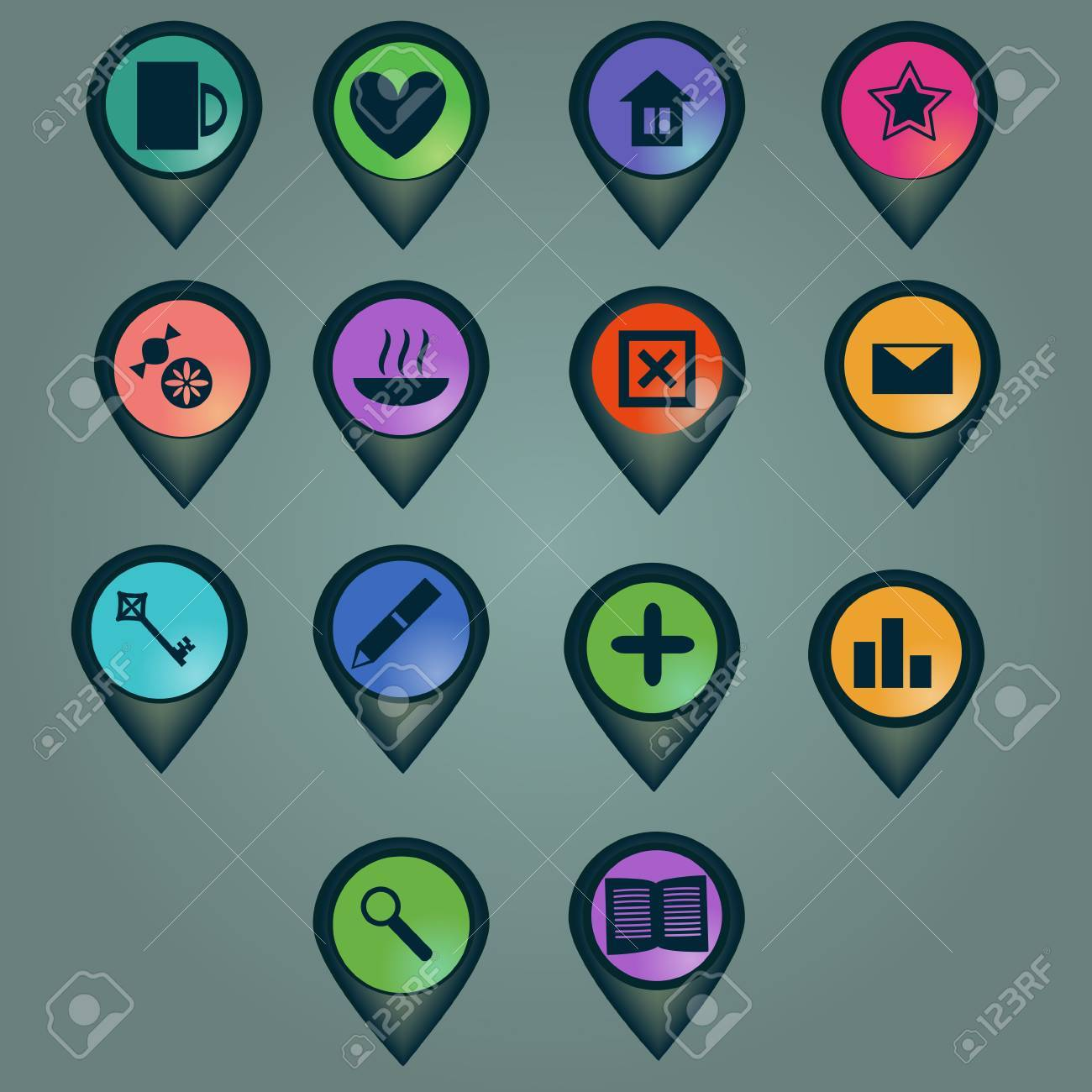 Markers set with various icons Stock Vector - 23165873