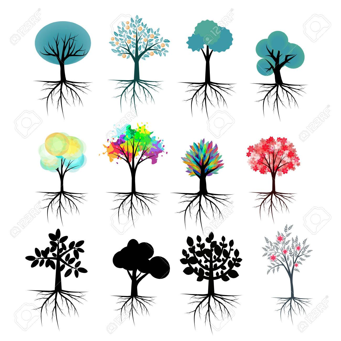 vector trees collection with roots royalty free cliparts vectors rh 123rf com vector trees free download vector trees in plan