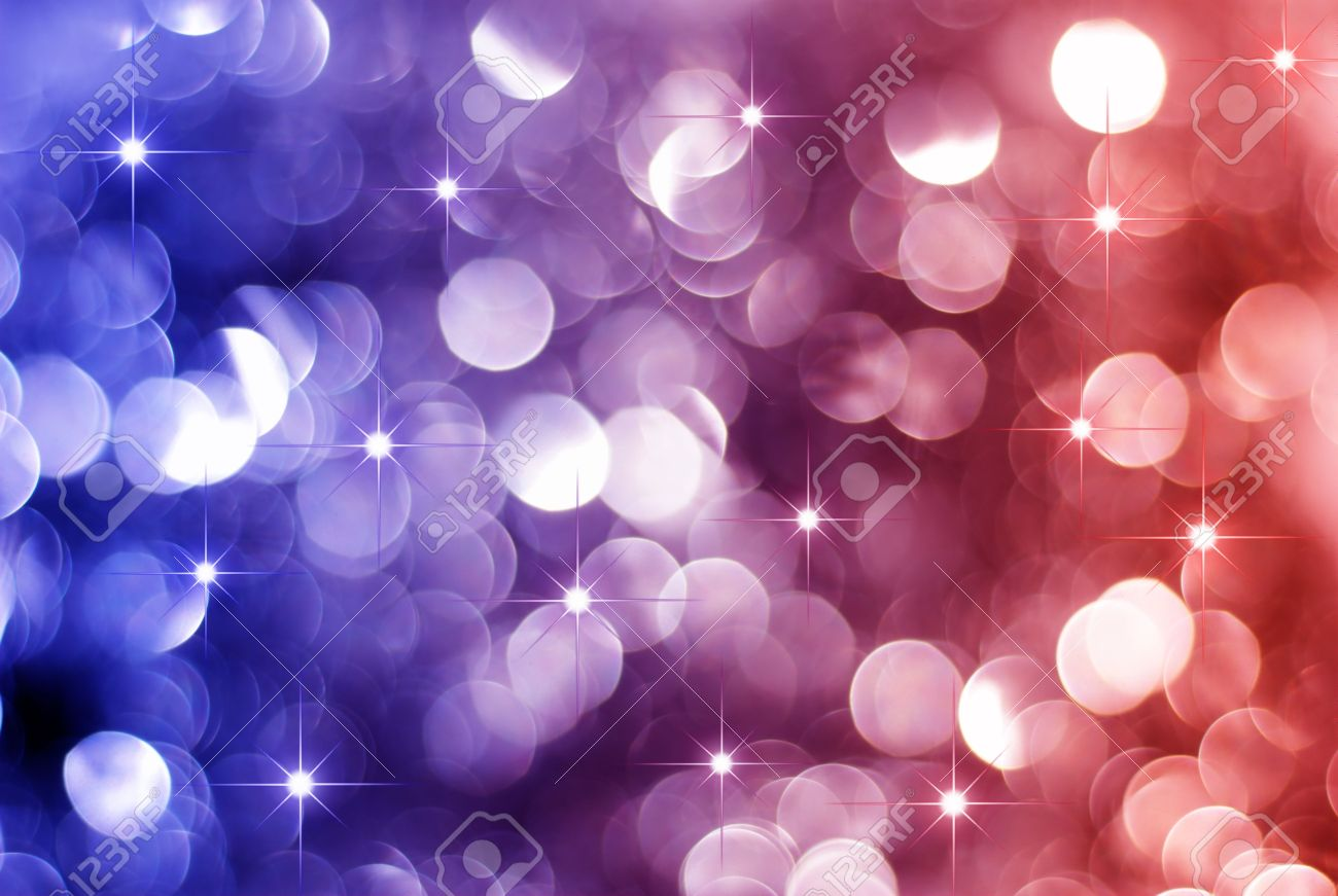 Glowing Red and blue Christmas lights background with little stars Stock Photo - 5852516