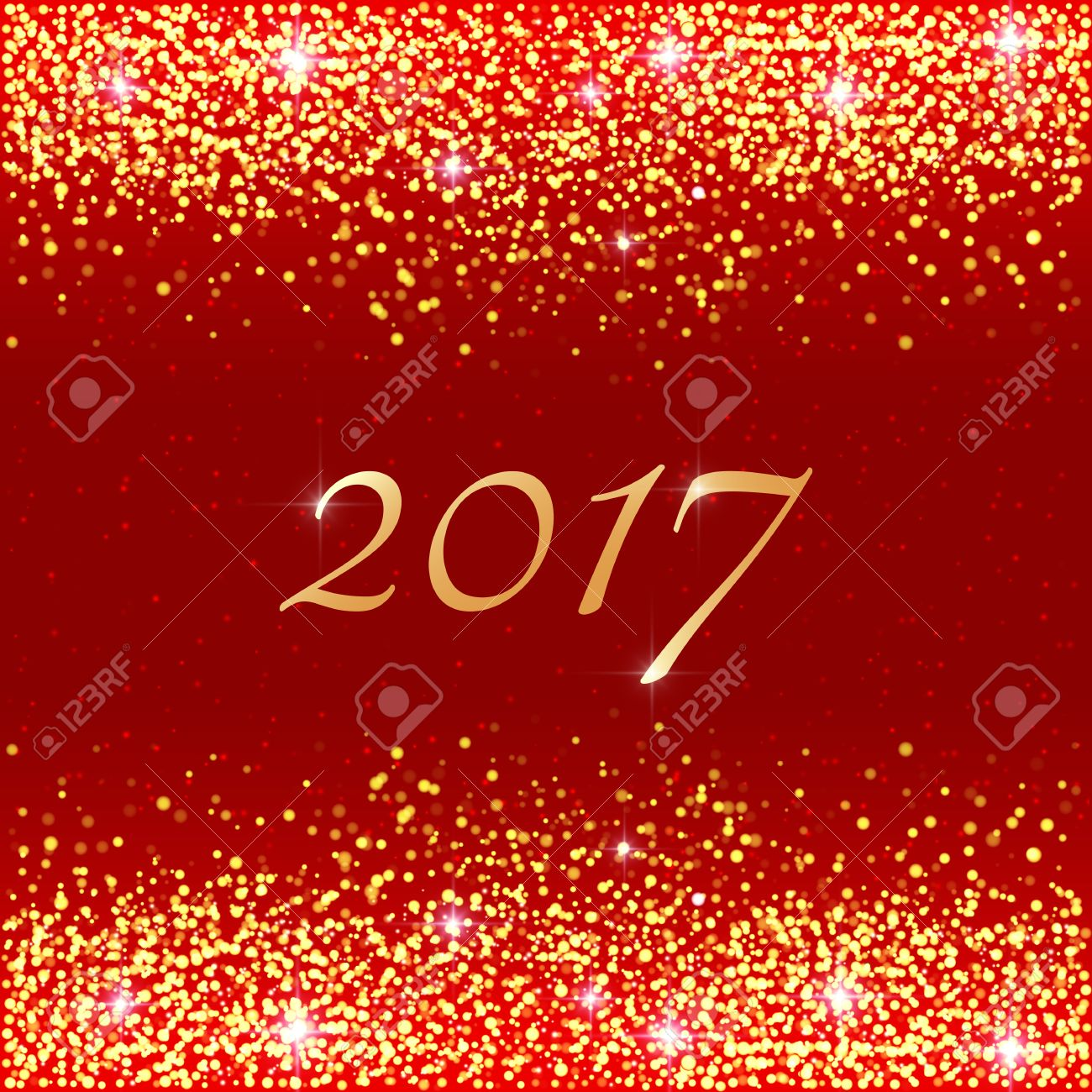 Happy New Year 2017. Vector Holiday Template With Sparkles On Red  Background. Gold Glitter